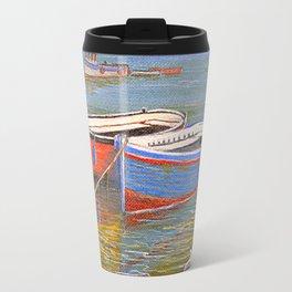 Blue And Orange Boats At The Harbor Travel Mug