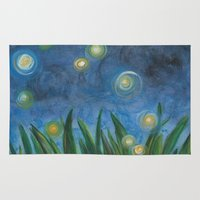 fireflies Area & Throw Rugs featuring Fireflies by Kristen Fagan