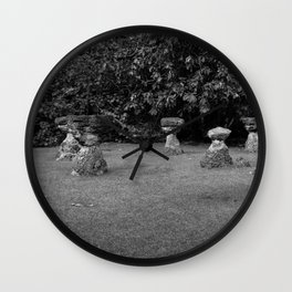 Chamoru Stones of Life - B/W Wall Clock