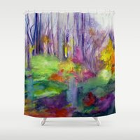 vermont Shower Curtains featuring VERMONT by Shayna Carolyn