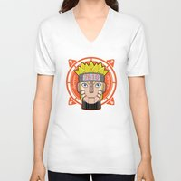 naruto V-neck T-shirts featuring Mecha Naruto by Enrique Valles