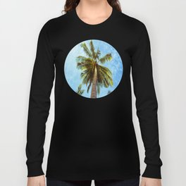 Mid Century Modern Round Circle Photo Looking Up At A Tropical Palm Trees Long Sleeve T-shirt