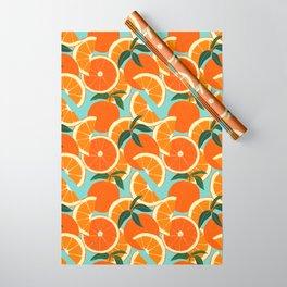 Orange Harvest - Blue Wrapping Paper