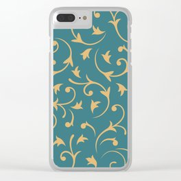 Baroque Design – Gold on Teal Clear iPhone Case
