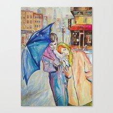 Paris, vintage, retro, love, painting. Canvas Print