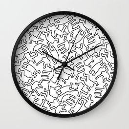 Contemporary Street Art Keith Haring Pattern Figures Black Wall Clock