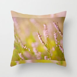 Soft focus of pink heather macro Throw Pillow