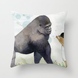 Hug me , Mr. Gorilla Throw Pillow