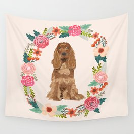 cocker spaniel dog floral wreath dog gifts pet portraits Wall Tapestry