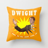 dwight schrute Throw Pillows featuring Dwight Schrute  |  The Office by Silvio Ledbetter