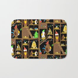 Chicken Coop Christmas - funny chickens, farm, holidays Bath Mat