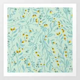 Tangled Vines in Eggshell Blue and Butternut Orange Art Print