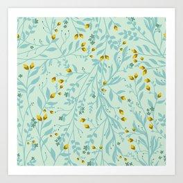 Tangled Vines in Eggshell Blue and Butternut Orange Art Print