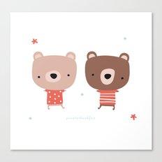 Christmas cute bears Canvas Print