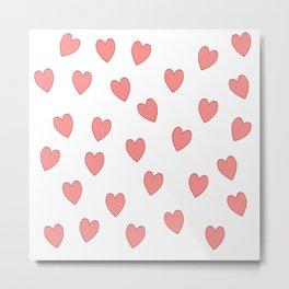 Floating Pink Love Hearts Metal Print
