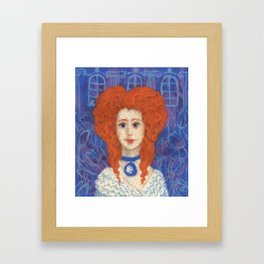 Red Hair, ginger lady, rococo haircut, felt painting, fiber art Framed Art Print