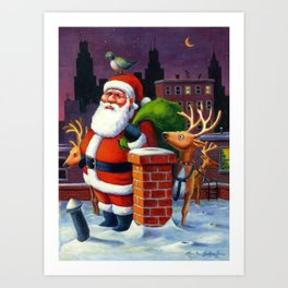 Santa's Tight Squeeze Art Print
