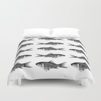 goldfish Duvet Covers featuring Goldfish by Meredith Mackworth-Praed