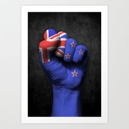 New Zealand Flag on a Raised Clenched Fist Art Print