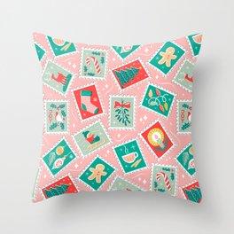 Retro Christmas Postage Stamps Throw Pillow