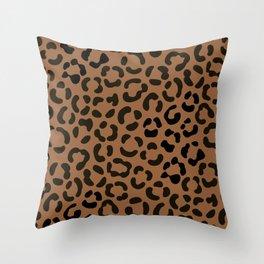 Trendy Black on Tan Leopard Print Pattern Throw Pillow