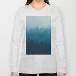 Misty Turquoise Blue Pine Forest Foggy Ombre Monochrome Trees Landscape Long Sleeve T-shirt