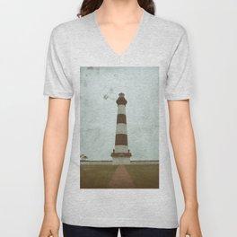 Bodie Lighthouse Glass Plate Effects Coastal Landscape Photograph Unisex V-Neck