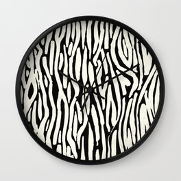 Zebra Stripes Tribal Black and Cream Wall Clock