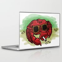 cigarette Laptop & iPad Skins featuring Cigarette Crab by Victoria Morris