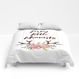 Deer Antlers with flowers , quotes , inspirational quote Comforters