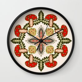 Fly Agaric Toadstool Forest Folkart, Red Fungi Mushroom Design with Trees Wall Clock