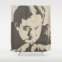 bill Shower Curtains featuring Bill Hicks by Finlay McNevin