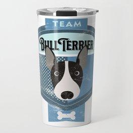 Team Bull Terrier - Distressed English Bull Terrier Beer Label Design Travel Mug