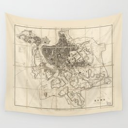 Plan of Rome Map (circa 1856) Wall Tapestry