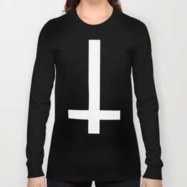 inverted cross gothic 666 satan devil crowley nwo illuminati black metal illuminati t-shirts Long Sleeve T-shirt