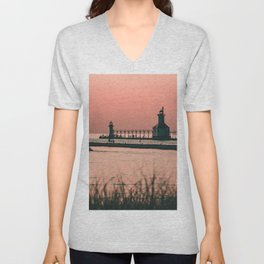 Sunset Lighthouse Unisex V-Neck