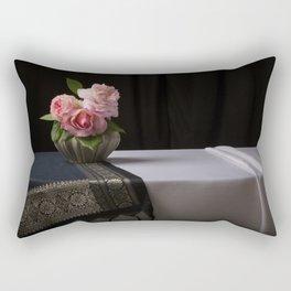 Roses and silk still life Rectangular Pillow