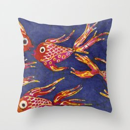Goldfish batik Throw Pillow