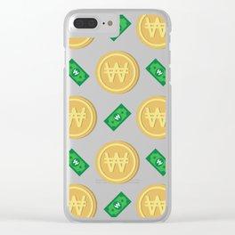 Korean won pattern background Clear iPhone Case