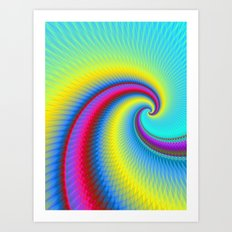 Big Wave in Yellow Turquoise and Red Art Print
