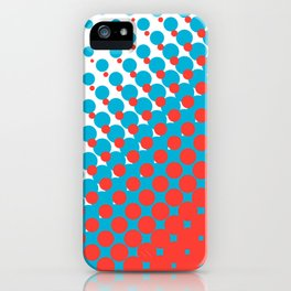Blue and red halftone pattern iPhone Case