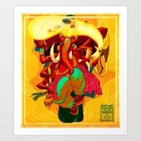 ganesh Art Prints featuring Ganesh by marekolani