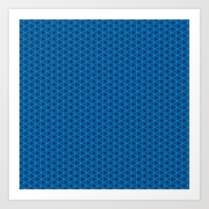 Geometric Peacock Blue Pattern Art Print