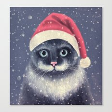 Christmas cat with a mustache Canvas Print