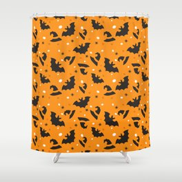 Happy halloween bats and witch hats pattern Shower Curtain