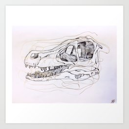 Velociaptor Skull Art Print