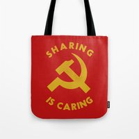 marx Tote Bags featuring Sharing Is Caring by Landon Sheely