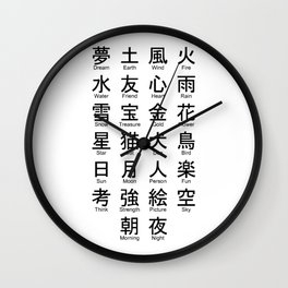 Japanese Alphabet Writing Logos Icons Wall Clock