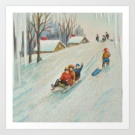 Happy vintage winter sledders Art Print