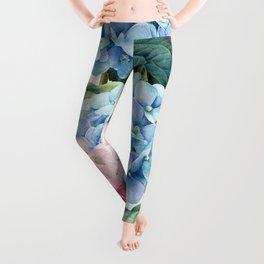 Pink Blue Hydrangea Leggings